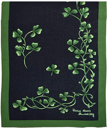 Patrick Francis Navy & Green Shamrock Sprig Silk Scarf at Amazon Women's Clothing store: Fashion Scarves