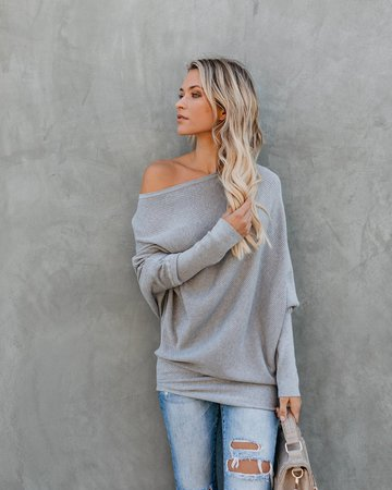 All That Ribbed Cashmere Blend Sweater - Heather Grey - FLASH SALE – VICI
