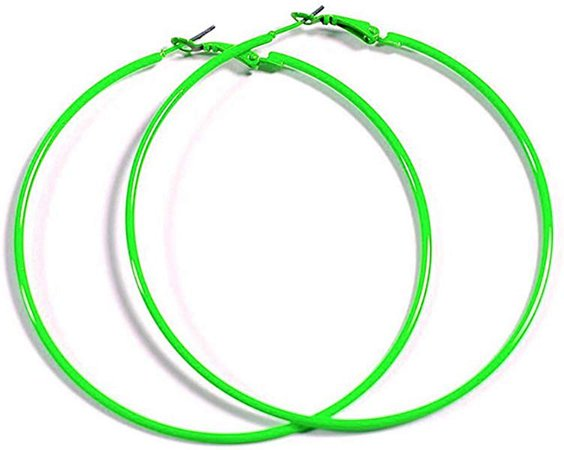 Amazon.com: NEON GREEN Hoop Earrings 50mm Circle Size - Bright Flourescent, Vibrant Colors: Jewelry