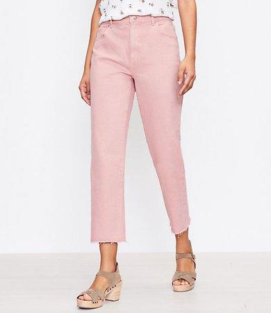 The High Waist Straight Crop Jean in Blush Shadow