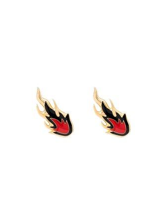 Ambush Gold-Plated Flame Stud Earrings Ss20 | Farfetch.com