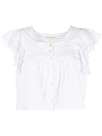 Shop white LoveShackFancy lace-trimmed cotton blouse with Express Delivery - Farfetch