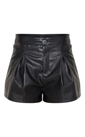 Black Faux Leather Pleat Front Short | Shorts | PrettyLittleThing
