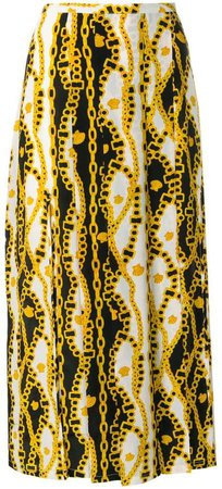Rixo London chain print pleated skirt