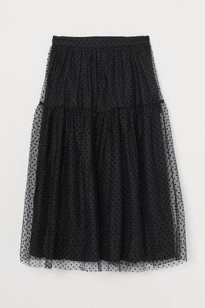 Calf-length Mesh Skirt - Black - Ladies   H&M US