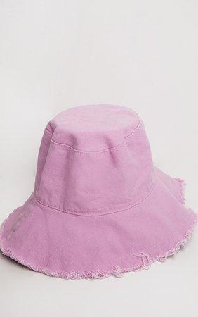 Lilac Cotton Frayed Edge Bucket Hat | PrettyLittleThing USA
