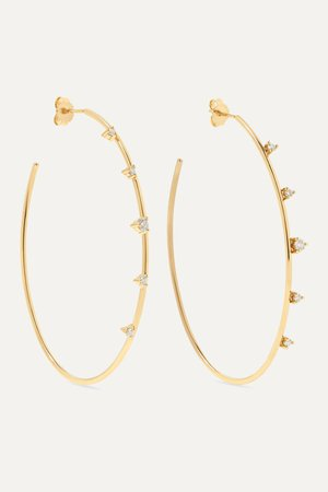 Gold 14-karat gold diamond hoop earrings | Mizuki | NET-A-PORTER
