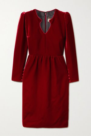 Red Velvet dress | SAINT LAURENT | NET-A-PORTER