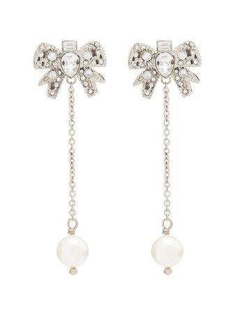 Miu Miu Crystal-Bow Pearl Drop Earrings | Farfetch.com