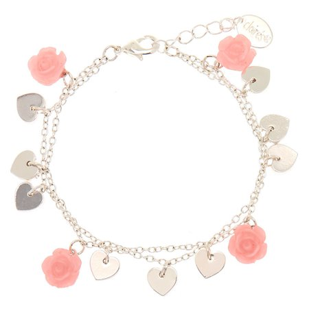 Silver Rose Heart Charm Bracelet - Pink | Claire's US