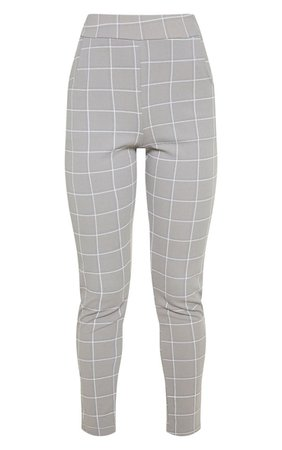 Lead Grey Tweed Check Skinny Trousers | PrettyLittleThing USA
