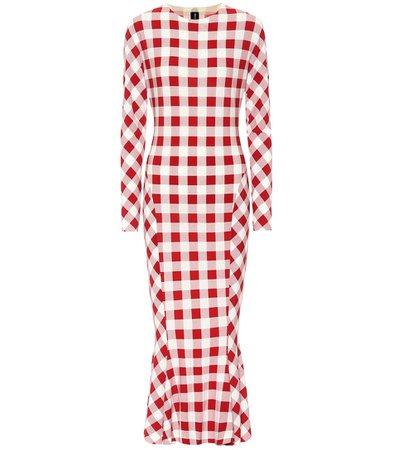 Norma Kamali - Checked stretch-jersey midi dress | Mytheresa