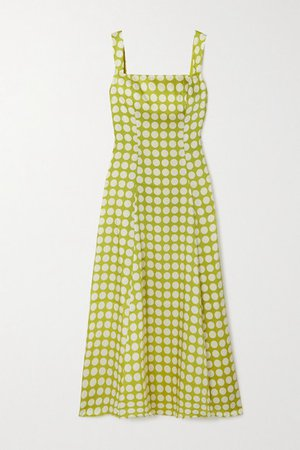 Bandana Polka-dot Recycled Twill Dress - Green