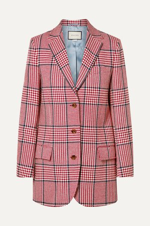 Red Prince of Wales checked wool-blend blazer | Gucci | NET-A-PORTER