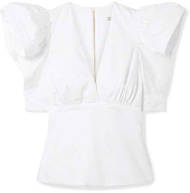 Top Ten Ruffled Stretch-cotton Poplin Top - White