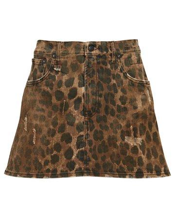 R13 Leopard Print Denim Mini Skirt   INTERMIX®