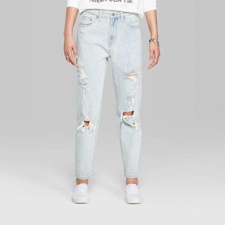 Women's High-Rise Distressed Mom Jeans - Wild Fable™ (Regular & Plus) Light Wash : Target