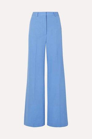 Dolce Wool-twill Wide-leg Pants - Blue