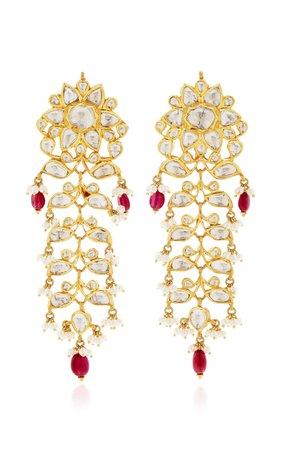 Raj 22k Gold, Ruby, and Diamond Earrings by Sanjay Kasliwal   Moda Operandi