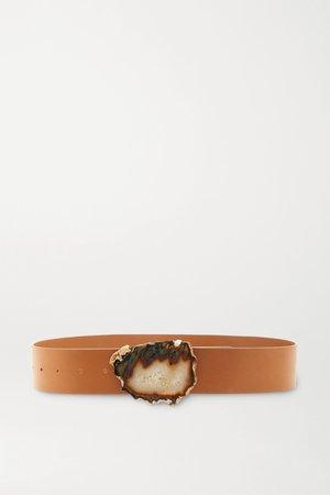 Camel Leather and agate belt | Gabriela Hearst | NET-A-PORTER