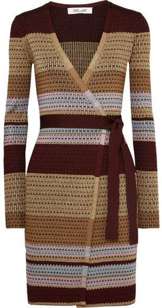 Metallic Striped Ribbed-knit Wrap Dress - Brown