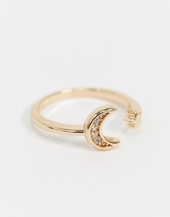ASOS DESIGN pinky ring in moon design in gold tone | ASOS