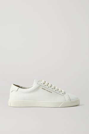 White Andy logo-print leather sneakers   SAINT LAURENT   NET-A-PORTER