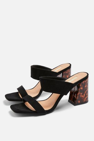 SELINA Black Tortoiseshell Heel Sandals   Topshop