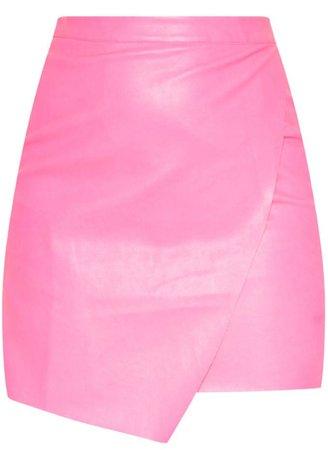 pink leather skirt PLT