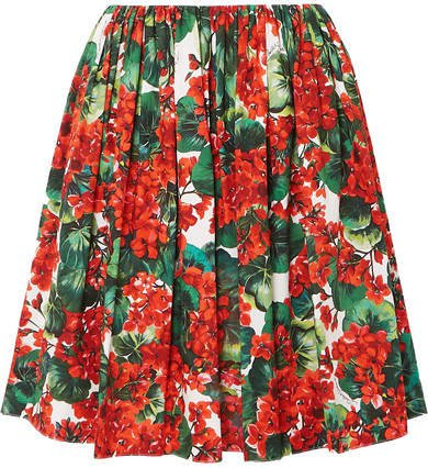 Pleated Floral-print Cotton Skirt - Red