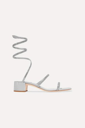Cleo Crystal-embellished Satin And Suede Sandals - Silver