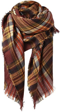 Century Star Women's Fall Winter Scarf Classic Tassel Plaid Scarf Warm Tartan Wrap Shawl Coffee at Amazon Women's Clothing store