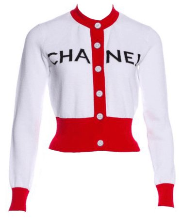 Chanel White And Red Cardigan