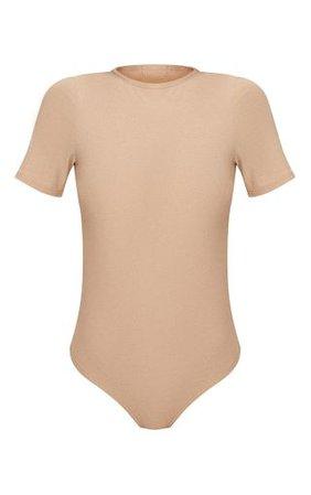 Stone Crepe Short Sleeve Thong Bodysuit | PrettyLittleThing