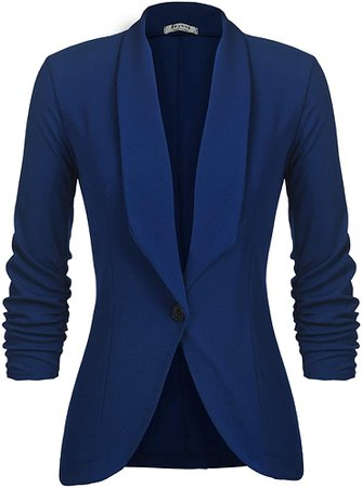 Beyove Womens Cotton Single Button Work Office Blazer Jacket Suit Royal Blue M at Amazon Women's Clothing store