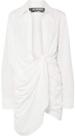 Bahia Draped Embroidered Cotton-blend Mini Dress - Off-white