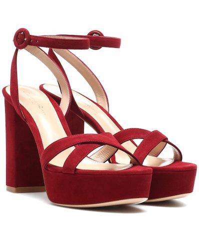 Poppy 70 suede plateau sandals