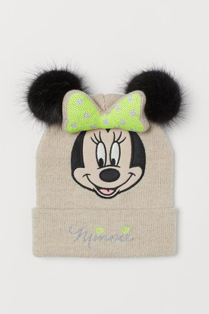 Hat with pompoms - Light beige/Minnie Mouse - Kids | H&M GB