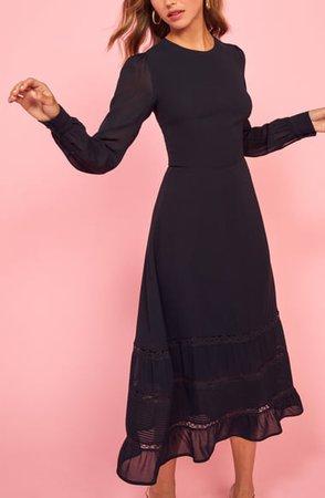 Reformation Valerie Ruffle Hem Long Sleeve Dress | Nordstrom