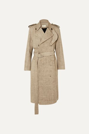 Beige Frayed belted linen trench coat | Bottega Veneta | NET-A-PORTER
