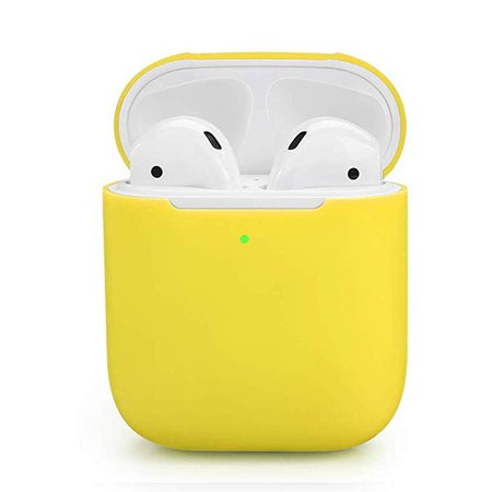 Amazon.com: ZALU Compatible for AirPods Case, 0.8mm Ultra-Thin Version, Premium Protective Silicone Cover Skin for AirPods Charging Case 2 & 1 [Front LED Visible] [Wireless Rechargeable] (Yellow): Cell Phones & Accessories