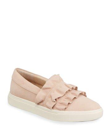 Neiman Marcus Odera Ruffle Suede Slip-On Sneakers