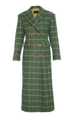 Double Breasted Slim Checkered Wool Coat by Anouki   Moda Operandi