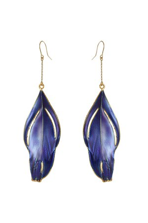 18K Gold-Plated Feather Earrings Gr. One Size