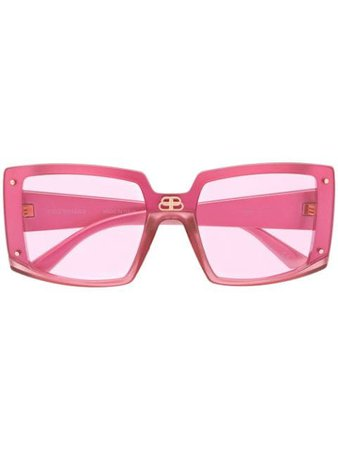 Balenciaga Shield Square-Frame Sunglasses 609371T0003 Pink | Farfetch