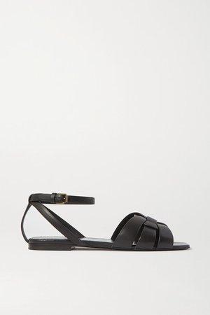 Nu Pieds Woven Leather Sandals - Black