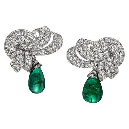 diamond cluster emerald bead drop earrings