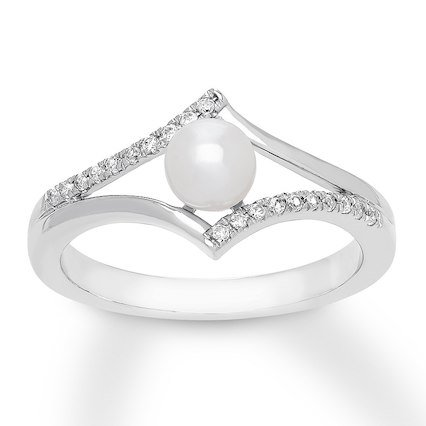 Kay - Cultured Pearl Ring Lab-Created White Sapphires Sterling Silver