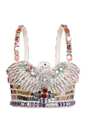 Crystal-Embellished Cropped Top by Balmain | Moda Operandi