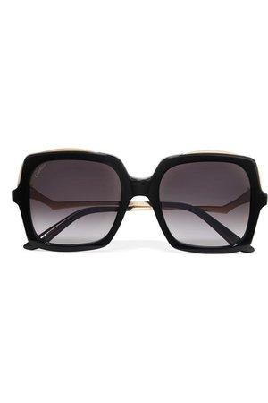Cartier Eyewear | Oversized square-frame gold-tone and acetate sunglasses | NET-A-PORTER.COM